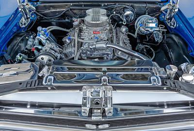 Photograph - 1971 Chevy Nova Super Sport Engine Compartment 350 Cubic Inch by Frank J Benz