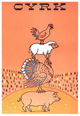Chicken Digital Art - 1971 Cyrk Pig Turkey Sheep Chicken Polish Circus Poster by Retro Graphics
