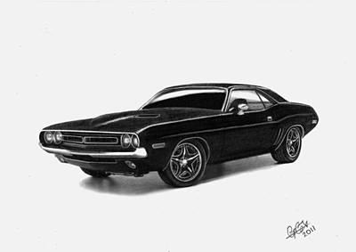 Automobile Drawing - 1971 Dodge Challenger by Chris Cox