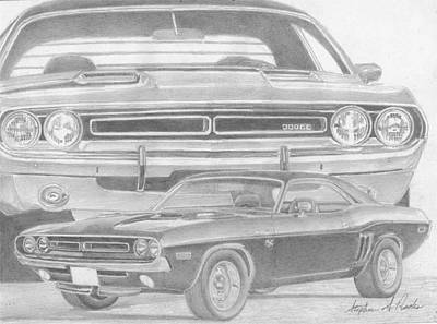 Challenger Drawing - 1971 Dodge Challenger Rt Classic Car Art Print by Stephen Rooks