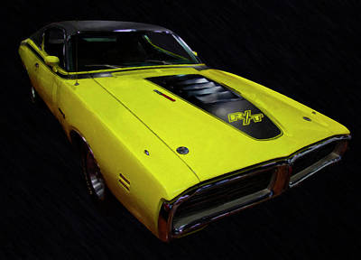 Painting - 1971 Dodge Charger Rt Digital Oil  by Chris Flees