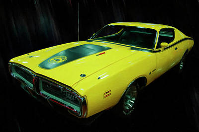 Painting - 1971 Dodge Charger Superbee 440 Six Pack Digital Oil by Chris Flees