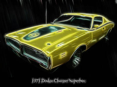 Digital Art - 1971 Dodge Charger Superbee - Electric by Chris Flees