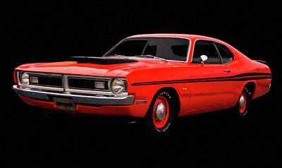 Painting - 1971 Dodge Demon Digital Oil by Chris Flees