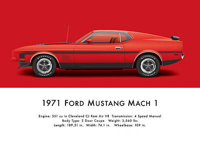1971 Digital Art - 1971 Ford Mustang 351 Mach 1 - Bright Red by Ed Jackson