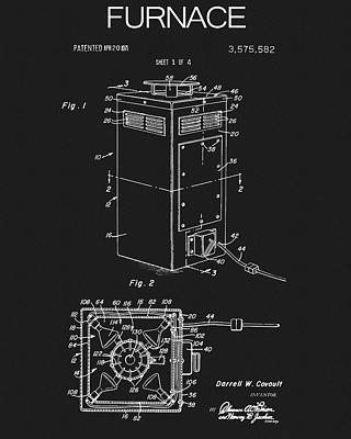 Drawing - 1971 Furnace Patent by Dan Sproul