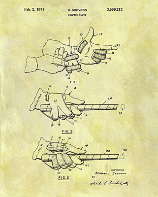 Mixed Media - 1971 Golf Glove Patent by Dan Sproul
