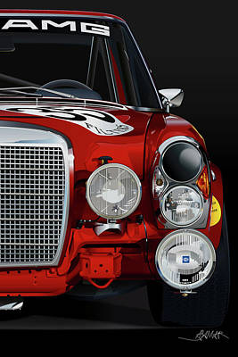 Drawing - 1971-mercedes-benz-300-sel-6.8-amg by Alain Jamar