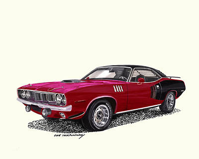 Painting - 1971 Plymouth Barracuda Hemi by Jack Pumphrey