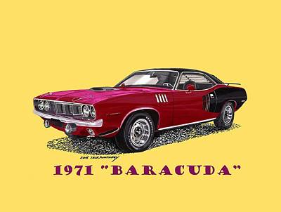 Painting - 1971 Plymouth Barracuda by Jack Pumphrey