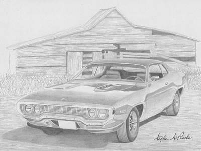 1971 Plymouth Roadrunner Muscle Car Art Print Print by Stephen Rooks
