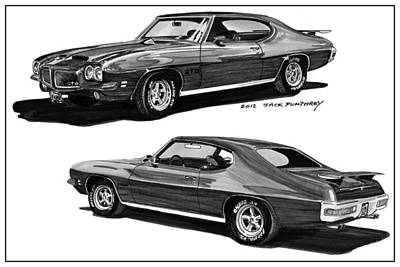 1971 Pontiac G T O Coming And Goin Art Print by Jack Pumphrey