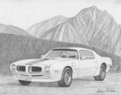 Pontiac Drawing - 1971 Pontiac Trans Am Classic Car Art Print by Stephen Rooks