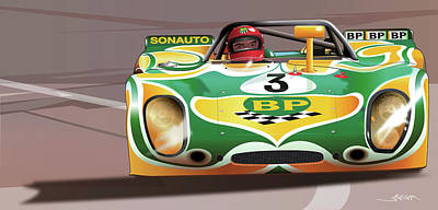 Digital Art - 1971 Porsche 908-02k  by Alain Jamar