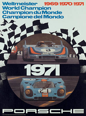 Champion Digital Art - 1971 Porsche World Champion Poster by Georgia Fowler