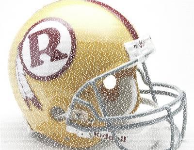 1971 Redskins Helmet Greatest Players Mosaic Art Print by Paul Van Scott