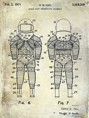 Outer Space Photograph - 1971 Space Suit Patent  by Jon Neidert