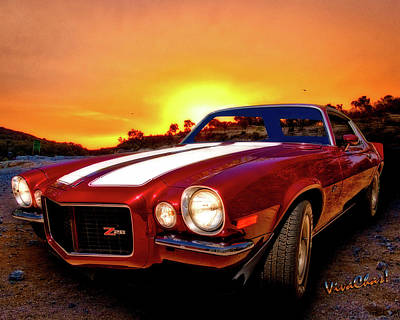 1971 Z28 Camaro Hdr Vivid Remembrance Art Print