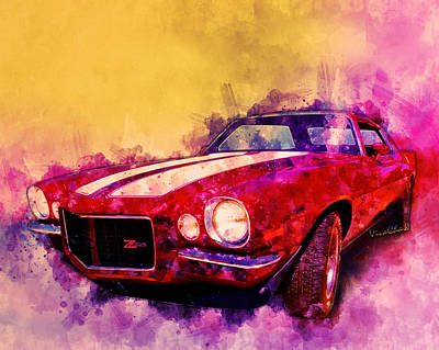 Digital Art - 1971 Z28 Camaro Watercolour by Chas Sinklier