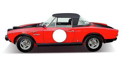 1972 Fiat 124 Spider Abarth Illustration Original