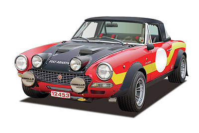 Drawing - 1972 Fiat Abarth 124 Rally Illustration by Alain Jamar