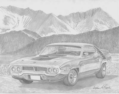 Roadrunner Drawing - 1972 Plymouth Roadrunner Muscle Car Art Print by Stephen Rooks