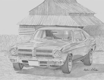 Pontiac Drawing - 1972 Pontiac Ventura Classic Car Art Print by Stephen Rooks