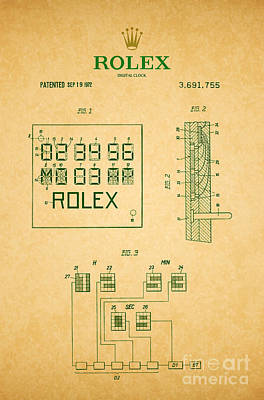 Vintage Digital Art Digital Art - 1972 Rolex Digital Clock Patent 2 by Nishanth Gopinathan