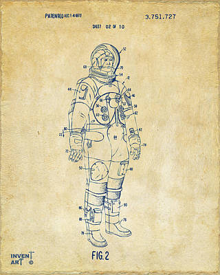 Historic Home Drawing - 1973 Astronaut Space Suit Patent Artwork - Vintage by Nikki Marie Smith