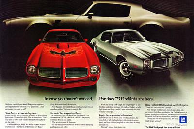 Motown Digital Art - 1973 Pontiac Firebird Trans Am  by Digital Repro Depot