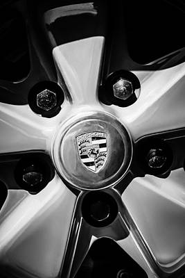 Photograph - 1973 Porsche 911 Rs Wheel Emblem -1391bw by Jill Reger