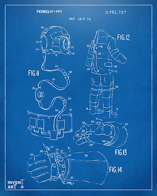 Astronauts Drawing - 1973 Space Suit Elements Patent Artwork - Blueprint by Nikki Marie Smith