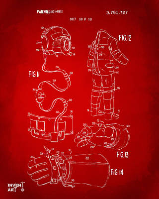 1973 Space Suit Elements Patent Artwork - Red Art Print by Nikki Marie Smith