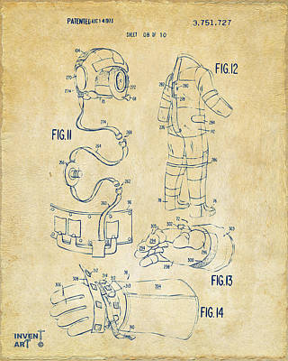 Historic Home Drawing - 1973 Space Suit Elements Patent Artwork - Vintage by Nikki Marie Smith