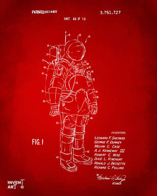 Space Ships Drawing - 1973 Space Suit Patent Inventors Artwork - Red by Nikki Marie Smith