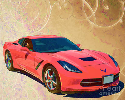 Painting - 1974 Chevrolet Corvette Painting Print In Gold And Red 3478.02 by M K Miller
