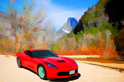 Painting - 1974 Chevrolet Corvette Red Painting Print 3476.02 by M K Miller