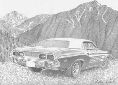Challenger Drawing - 1974 Dodge Challenger Rallye Classic Car Art Print by Stephen Rooks