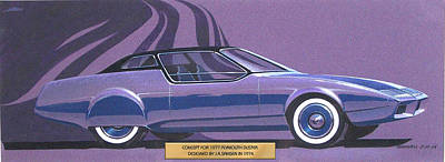 Car Art Drawing - 1974 Duster  Plymouth Styling Design Concept Sketch by John Samsen