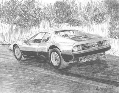 Boxer Drawing - 1974 Ferrari Boxer Exotic Car Art Print by Stephen Rooks