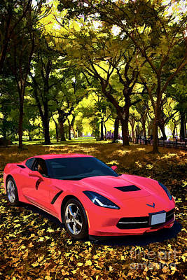 Painting - 1974 Red Chevrolet Corvette In The Park Painting Print 3479.02 by M K Miller