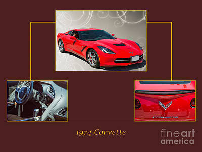 Photograph - 1974 Red Corvette By Chevrolet Collage Print 3514.02 by M K Miller