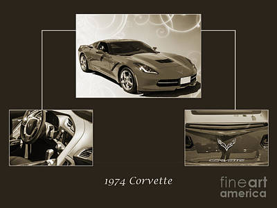 Photograph - 1974 Red Corvette By Chevrolet Collage Sepia Print 3514.01 by M K Miller