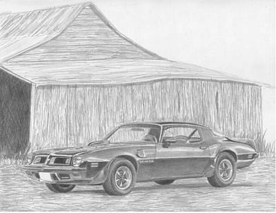 Pontiac Drawing - 1975 Pontiac Trans Am Classic Car Art Print by Stephen Rooks