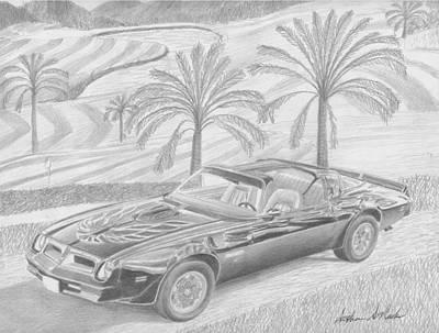 Pontiac Drawing - 1976 Anniversary Edition Trans Am Classic Car Art Print by Stephen Rooks
