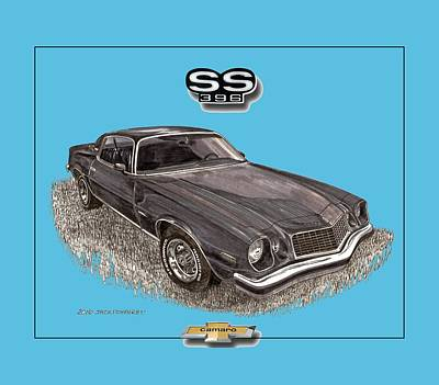Muscle Car Drawings Painting - 1976 Camaro S S 396 Tee Shirt by Jack Pumphrey