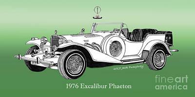 Drawing - 1976 Excalibur I I I Phaeton by Jack Pumphrey