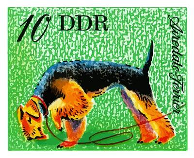 Postage Digital Art - 1976 Germany Airedale Terrier Postage Stamp by Retro Graphics