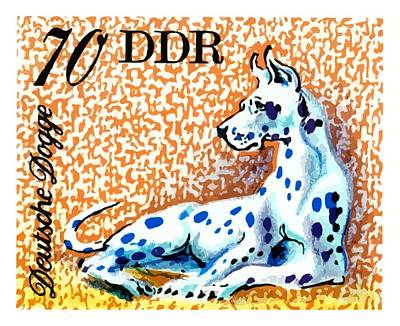 Mastiff Wall Art - Digital Art - 1976 Germany Great Dane Postage Stamp by Retro Graphics