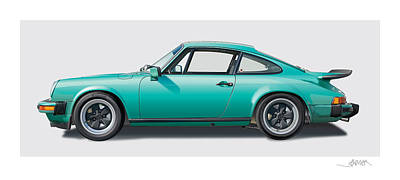1976 Porsche Euro Carrera 2.7 Illustration Art Print